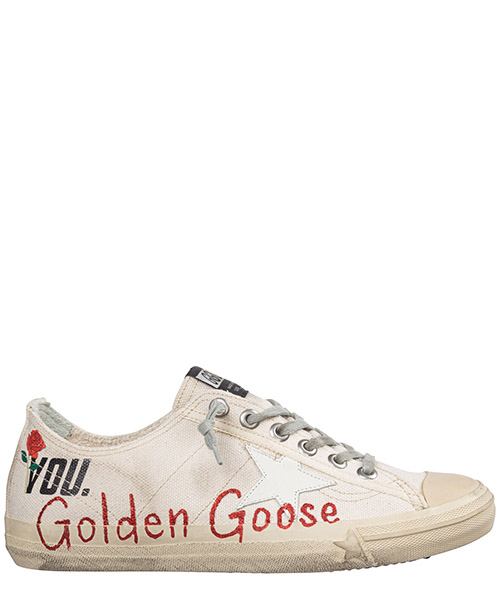 Zapatillas  Golden Goose V-Star G30WS639.M4 cream canvas