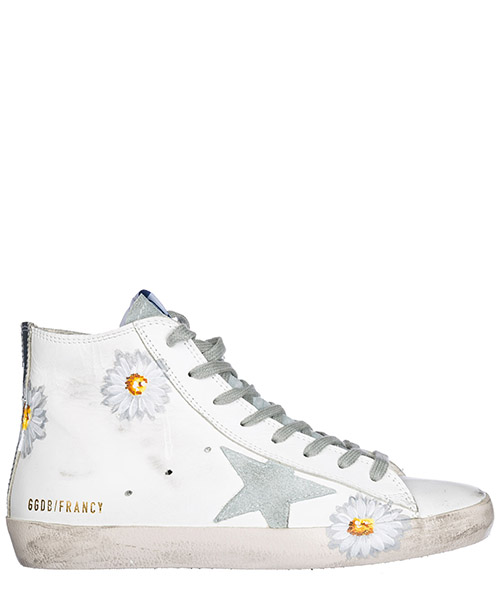 Sneakers alte Golden Goose G32WS591.B19 white - hand printed flowers