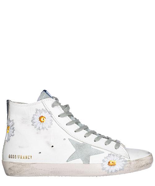 Chaussures baskets sneakers hautes femme en cuir francy