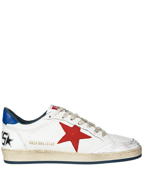 Sneakers Golden Goose Ball Star G33MS592.H8 white leather / navy red star