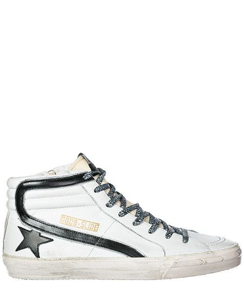 Hohe Turnschuhe Golden Goose Slide G33MS595.U5 white leather / leopard lace