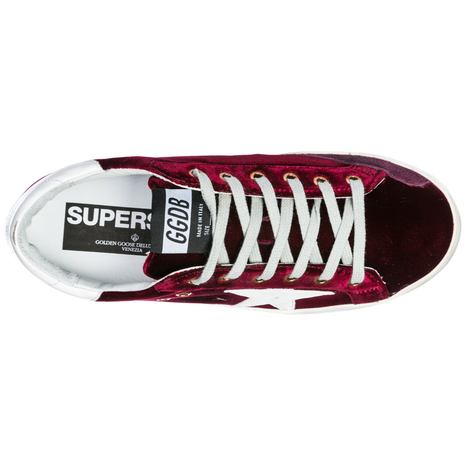 Goose Golden White Superstar Velvet l86 Sneakers G33ws590 Bordeaux zfxf4