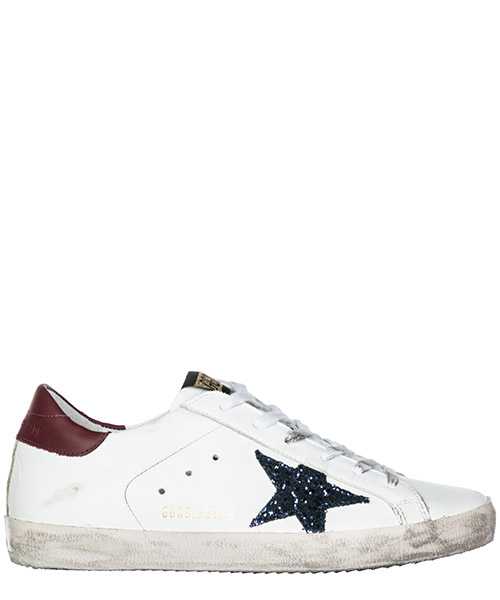 Sneakers Golden Goose Superstar G33WS590.L56 white - bordeaux - blue glitter