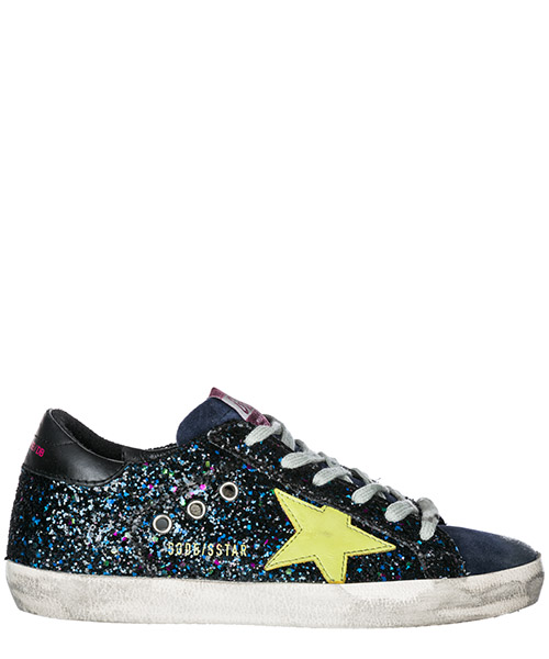 Sneakers Golden Goose Superstar G33WS590.L68 disco glitter - green star