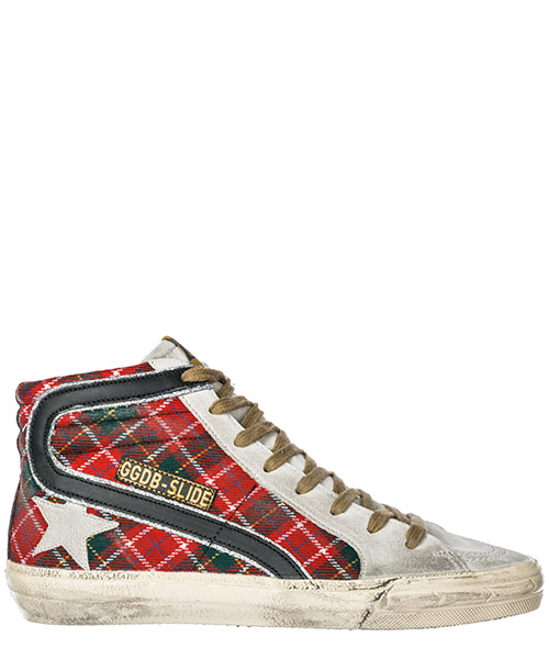 Sneakers alte Golden Goose Slide G33WS595.Z1 red tartan wool - ice star
