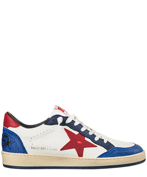 Basket Golden Goose Ball Star G34MS592.T1 navy crack - red
