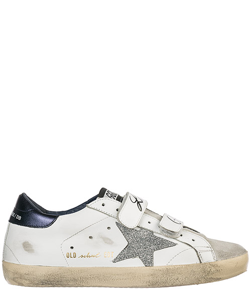 Sneakers Golden Goose Old School G34WS206.A5 white leather - blue laminated - silver
