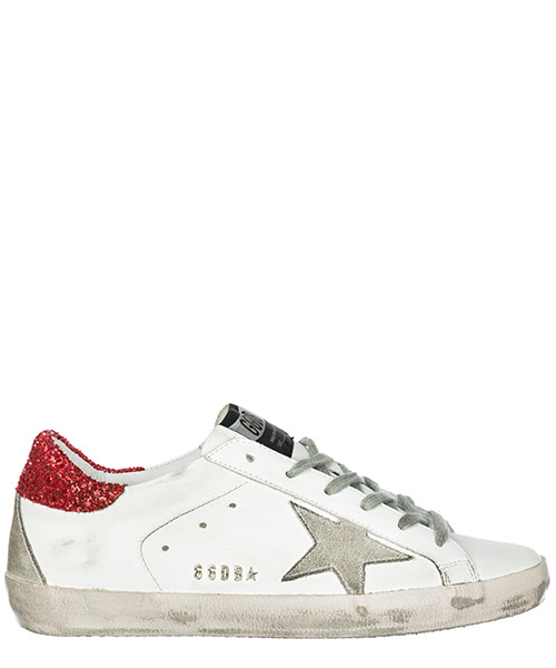 Sneakers Golden Goose Superstar G34WS590.M48 white red glitter - metal lettering