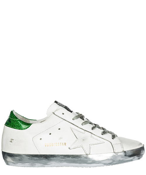 Sneakers Golden Goose Superstar G34WS590.M54 white sparkle green - ggdb lace