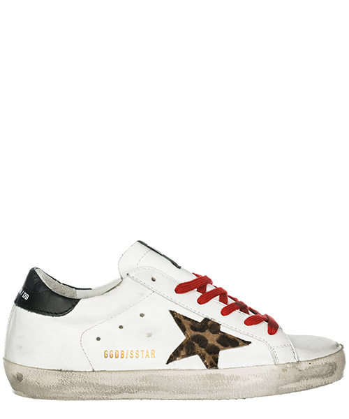 Sneakers Golden Goose Superstar G34WS590.M66 white black - animalier