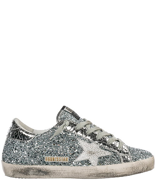 Sneakers Golden Goose Superstar G34WS590.M89 silver glitter - iron star