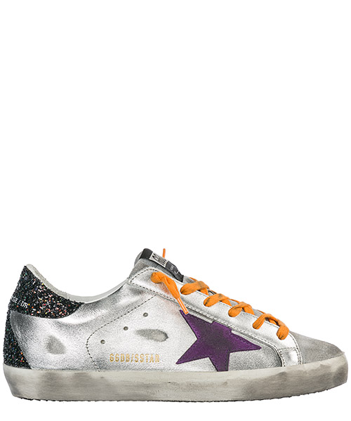 Sneakers Golden Goose Superstar G34WS590.N99 silver leather black glitter-lilac