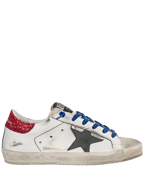 Sneakers Golden Goose Superstar G34WS590.O29 white - american flag - bluette lace