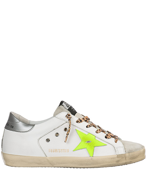 Sneakers Golden Goose Superstar G34WS590.O41 white canvas - fluo - leopard lace