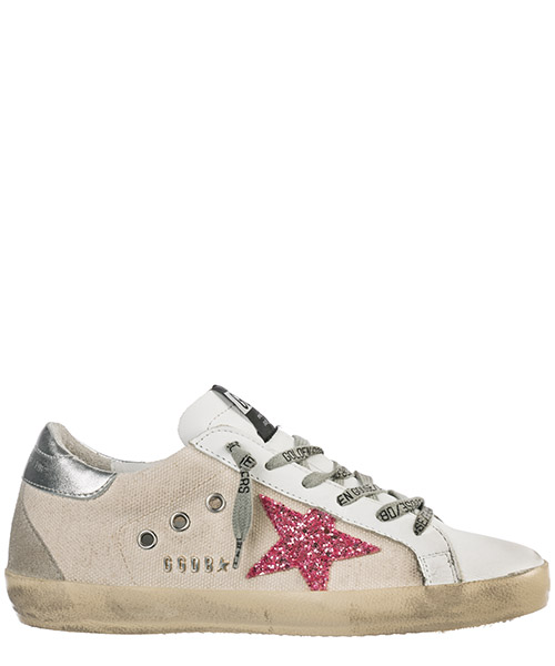 Turnschuhe Golden Goose Superstar G34WS590.O43 natural canvas - pink metal lettering