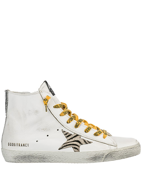 High-top sneakers Golden Goose Francy G34WS591B61 whtie leather - all time zebra