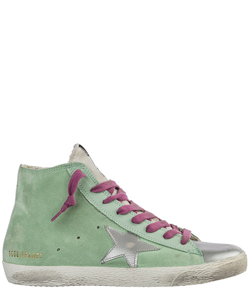Высокие кроссовки Golden Goose Francy G34WS591.B80 mint suede - silver star