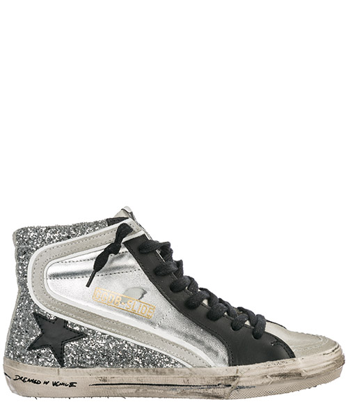 Hohe Turnschuhe Golden Goose Slide G34WS595.A28 silver glitter leather / black star