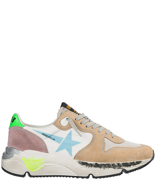 Running shoes Golden Goose Running Sole G34WS963.B6 white nylon - light blue star
