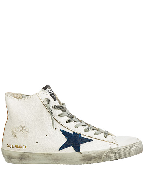 High-top sneakers Golden Goose Francy G35MS591.C20 white gold-blue star