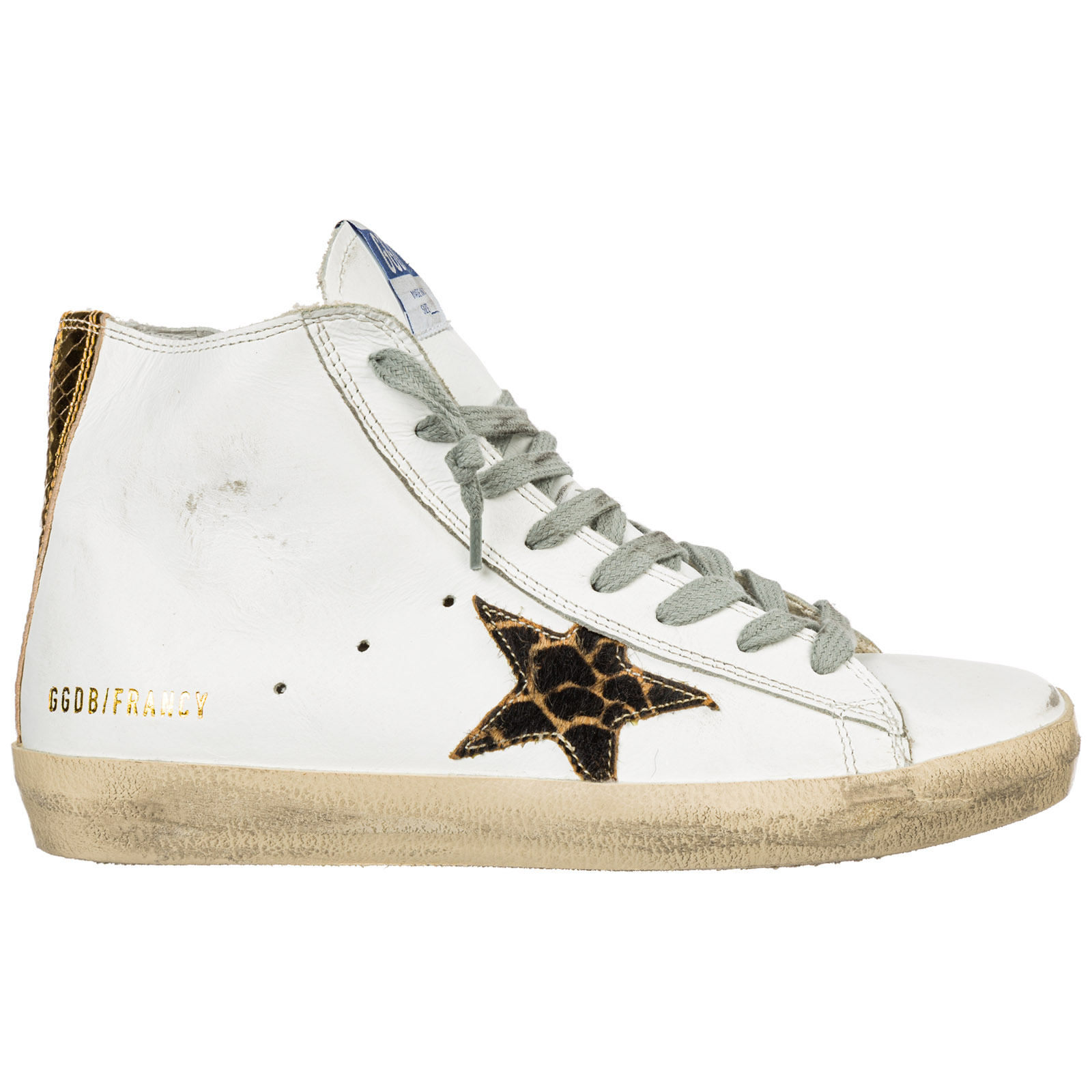 722a9849363 Golden Goose Women's Shoes High Top Leather Trainers Sneakers Francy In  White