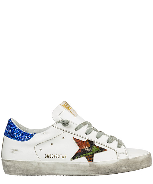 Sneaker Golden Goose Superstar G35WS590.O87 white - blue - orange print