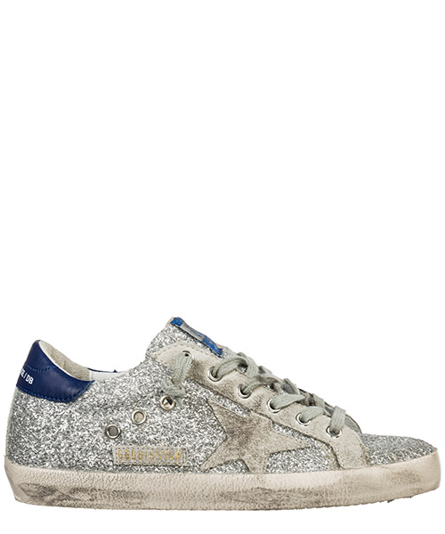Sneaker Golden Goose Superstar G35WS590.P18 silver glitter blue - ice star