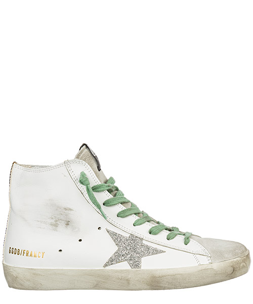 Sneaker high Golden Goose Francy G35WS591.B90 white silver glitter star