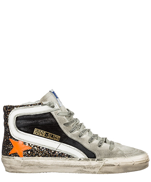 Sneaker high Golden Goose Slide G35WS595.A37 black gold glitter - orange star