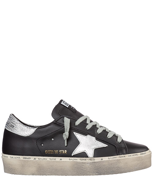 Sneaker Golden Goose Hi Star G35WS945.B9 black leather - shiny star
