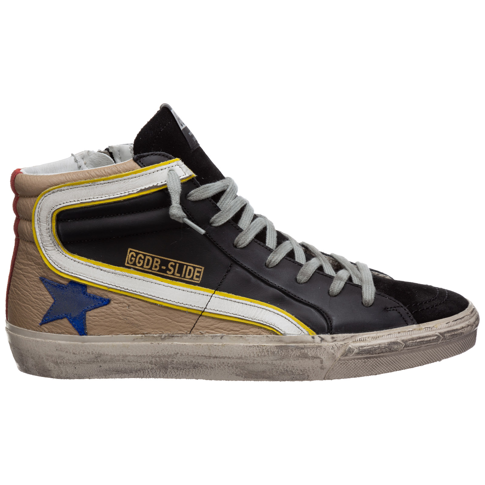 Men's shoes high top leather trainers sneakers slide