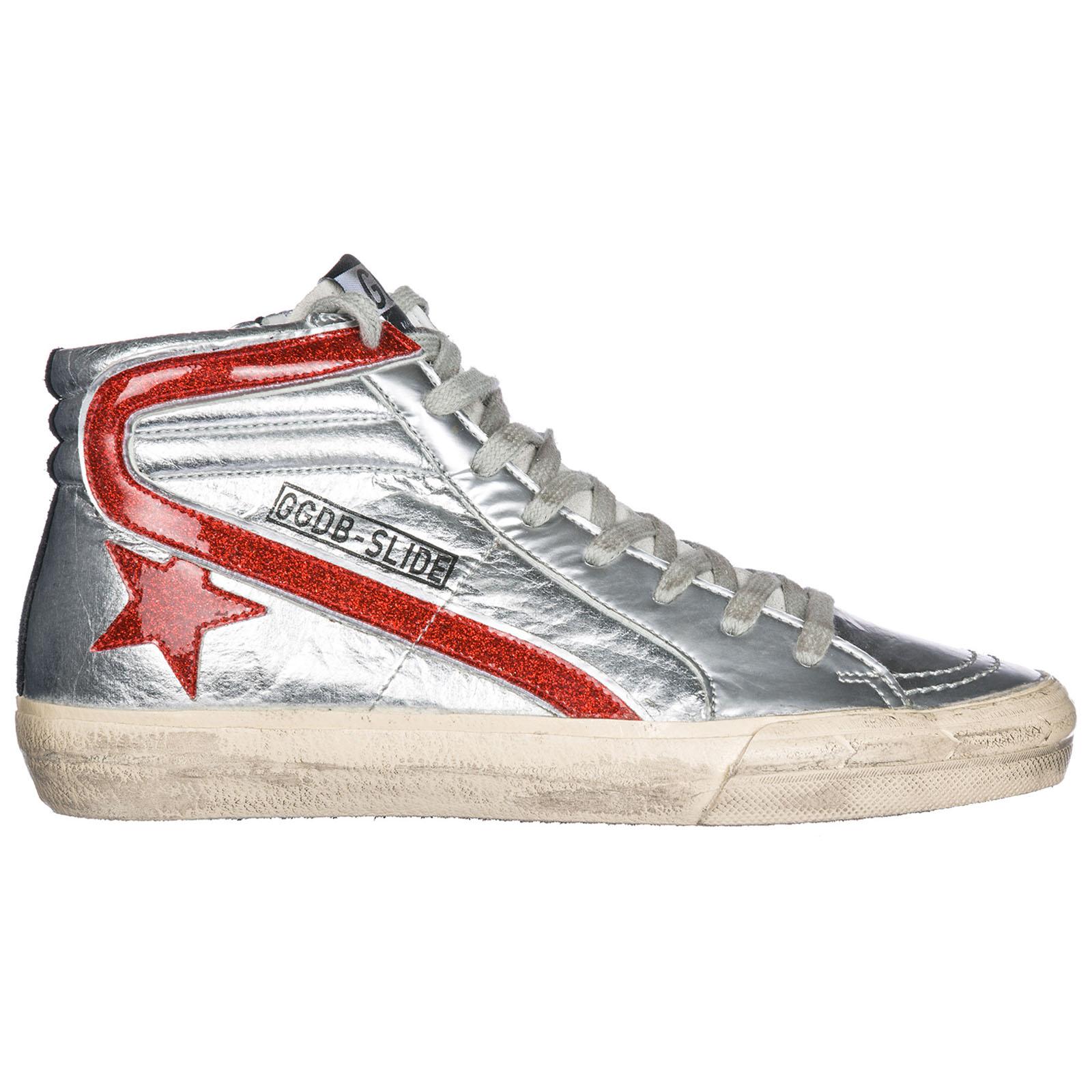 Scarpe sneakers alte donna in pelle slide