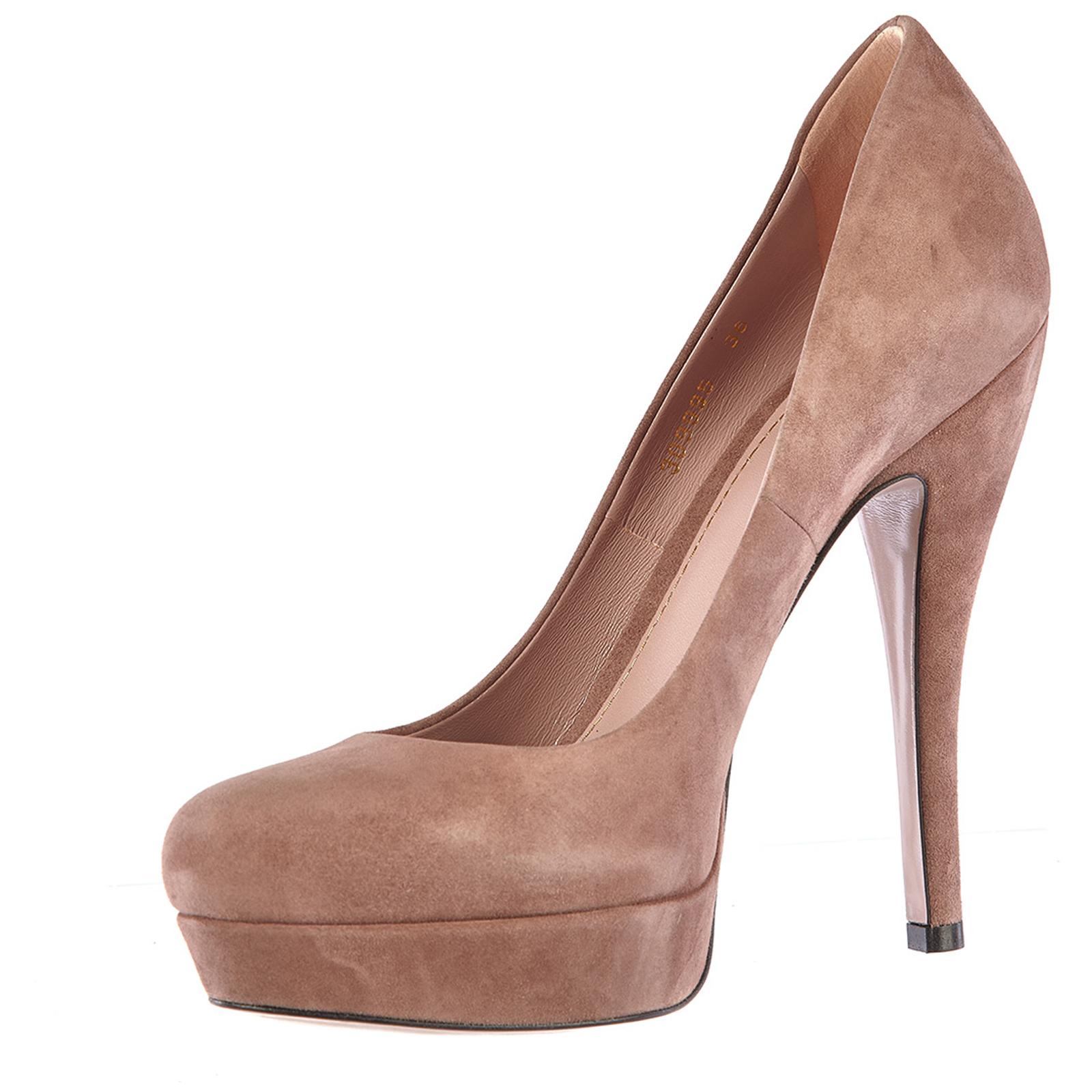 Women's suede platform pumps court shoes heel