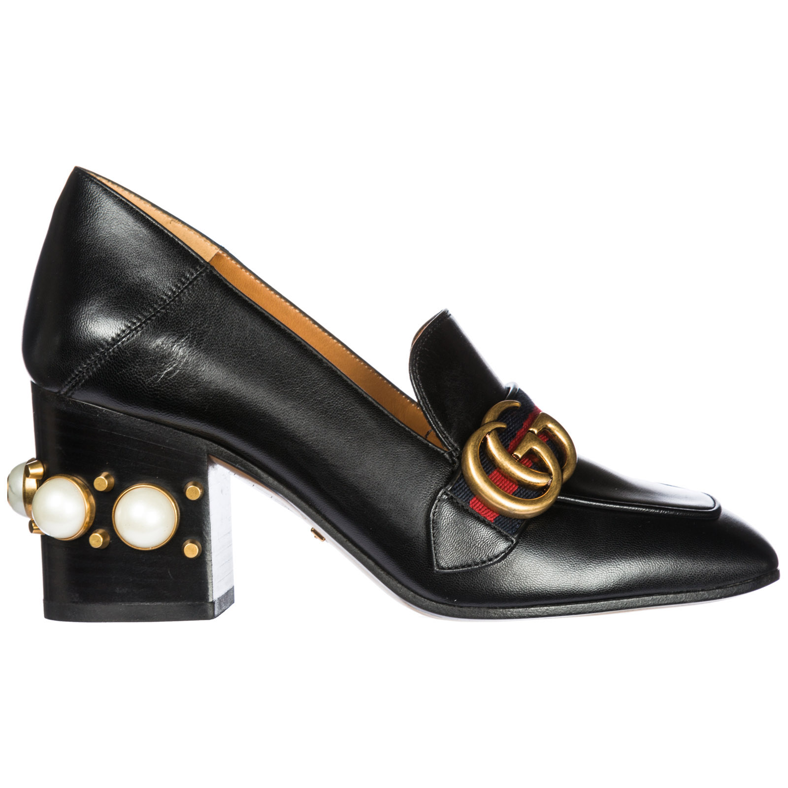 Gucci Women's Leather Pumps Court Shoes High Heel In Black