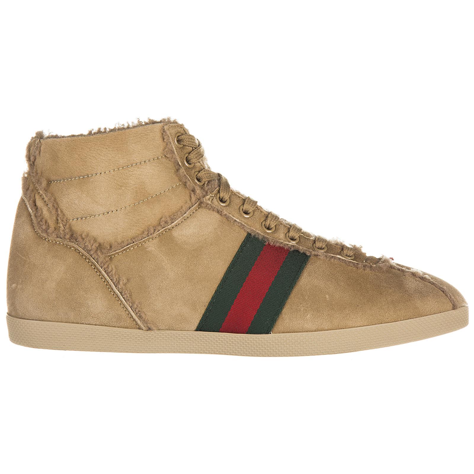 Scarpe sneakers alte uomo in camoscio shearling