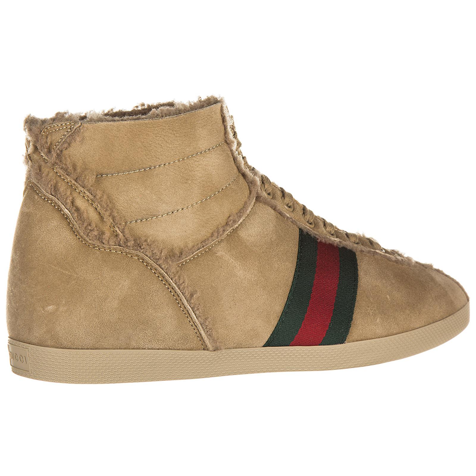 Chaussures baskets sneakers hautes homme en daim shearling
