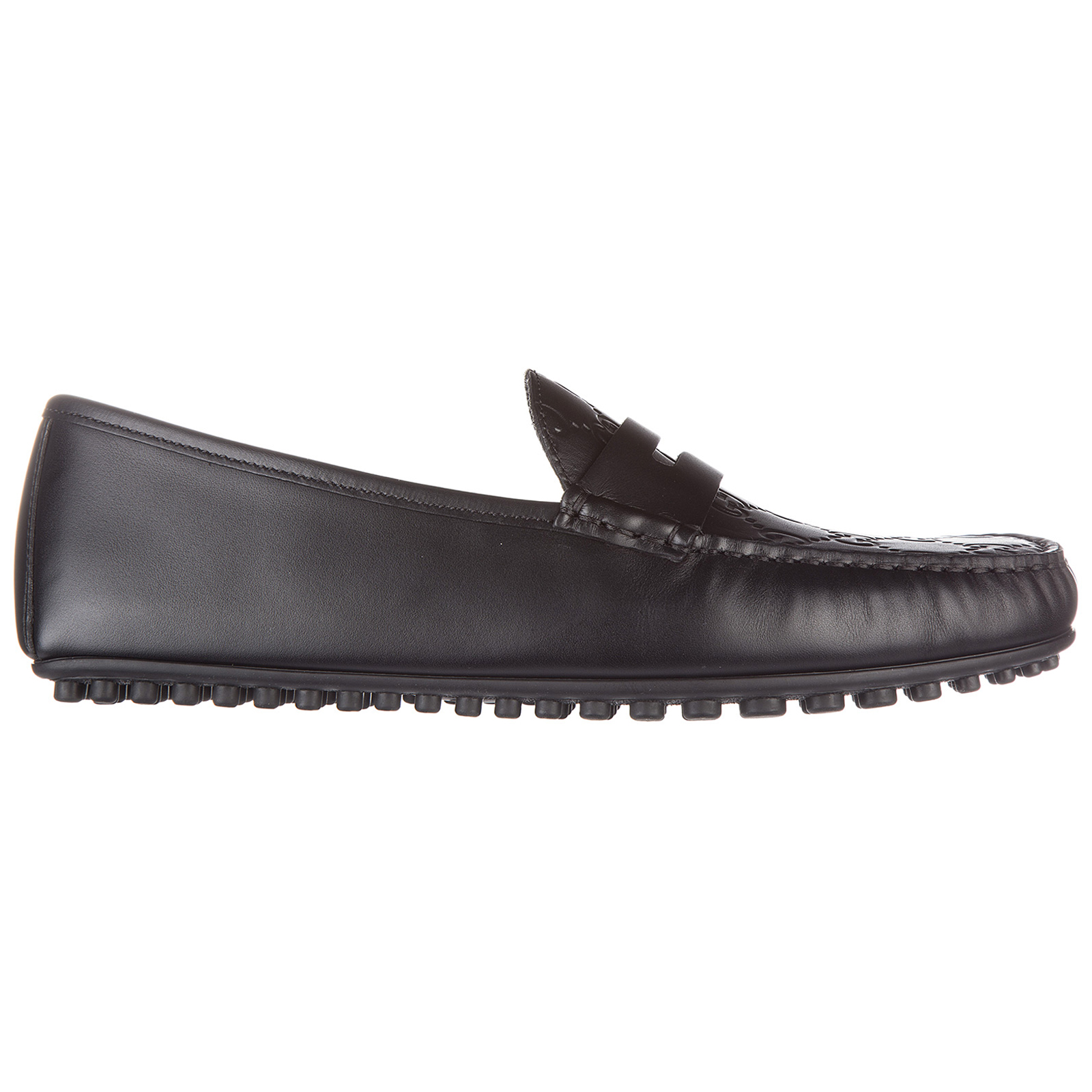 Men's leather loafers moccasins  calf gucci signature