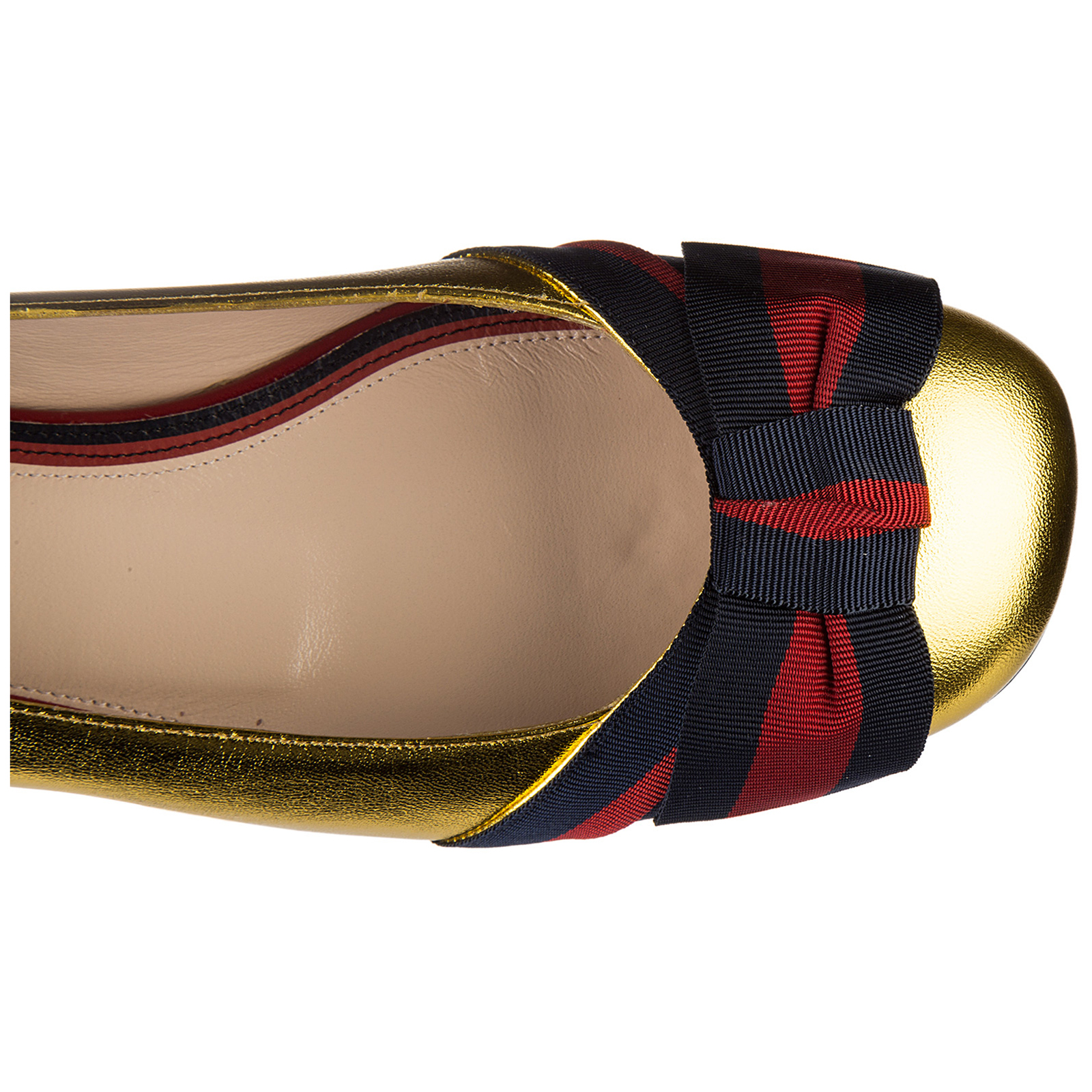Women's leather ballet flats ballerinas  nappa silk gross grain