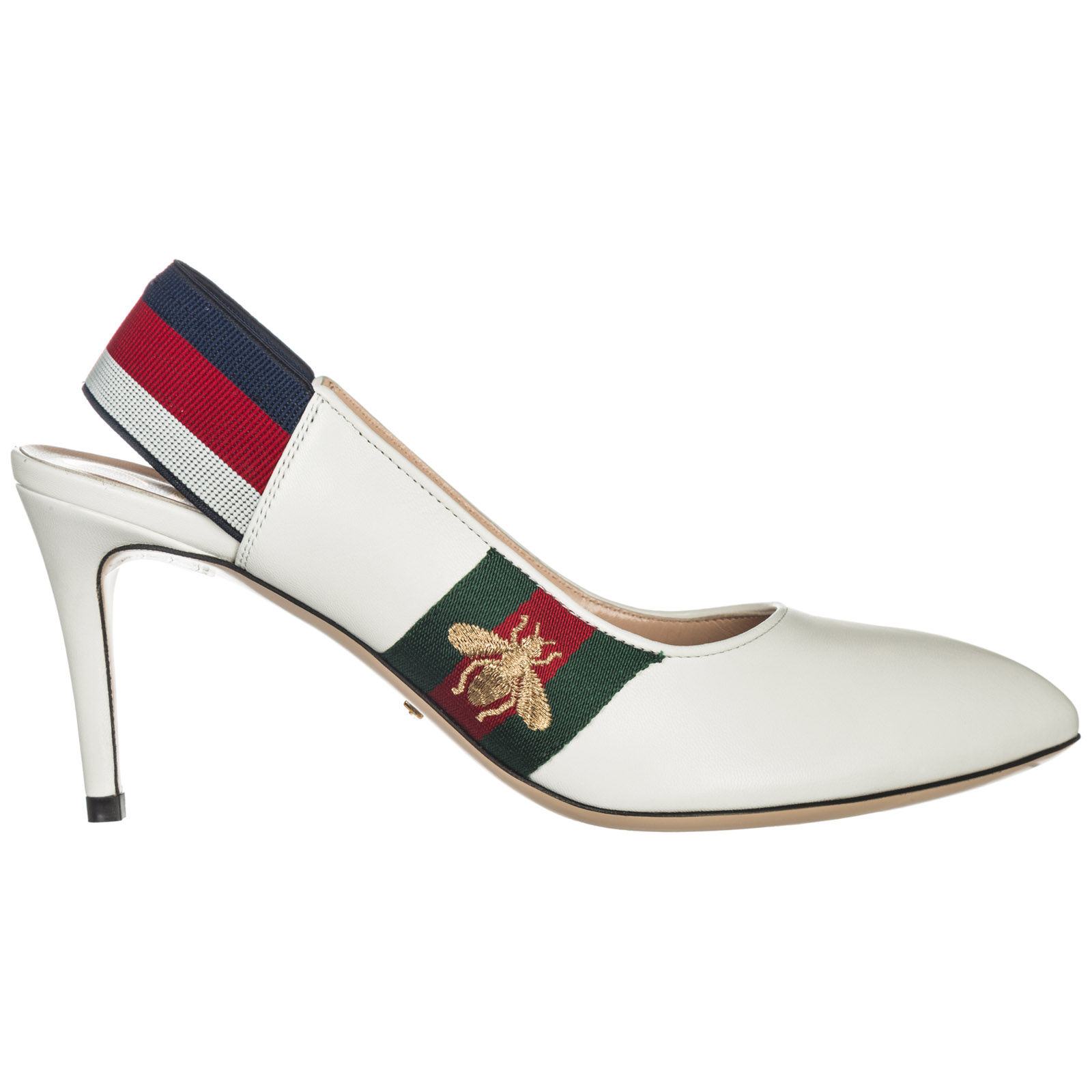 Gucci Women's Leather Pumps Court Shoes High Heel In White