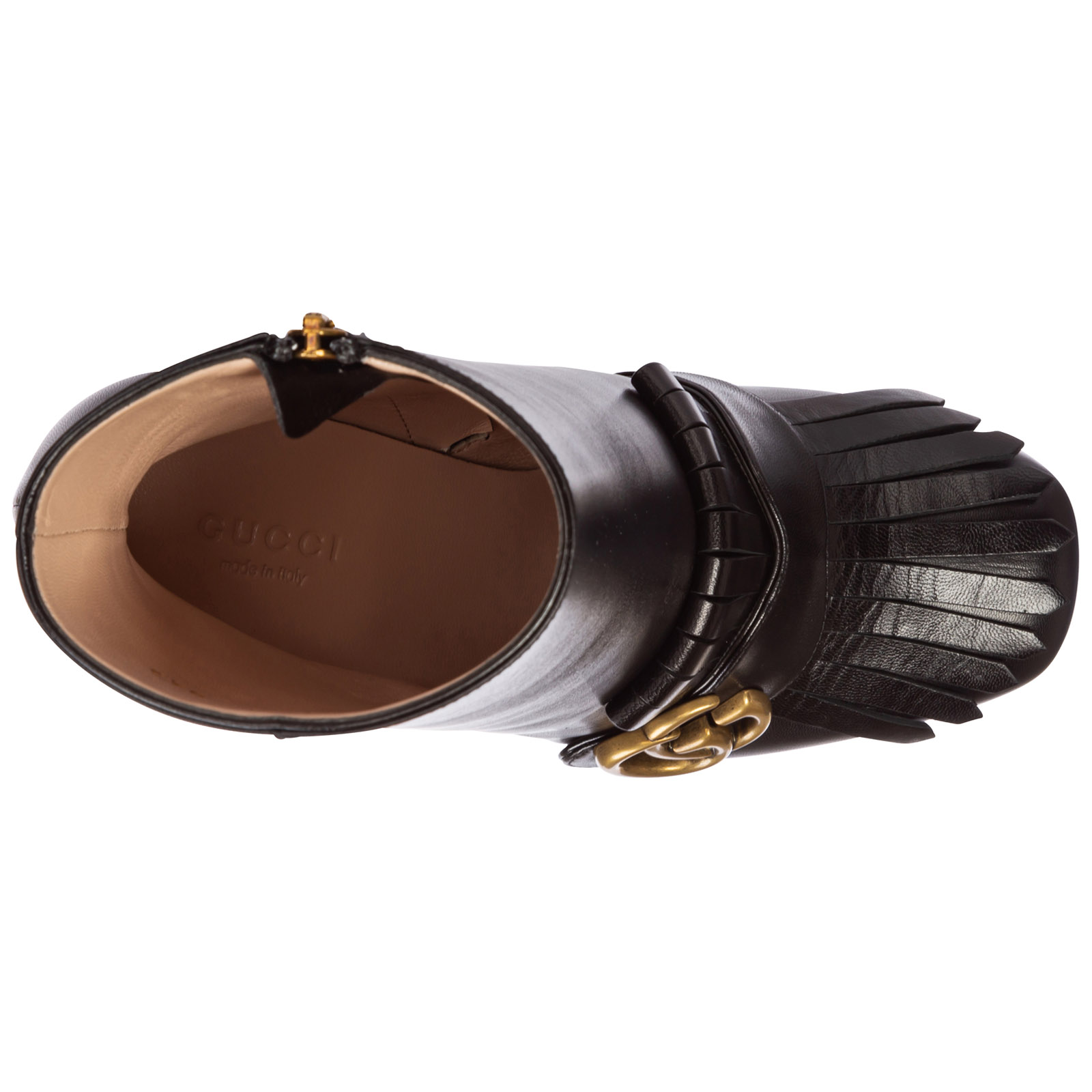 Demi bottes femme à talon en cuir gg marmont