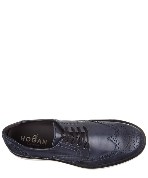 Scarpe stringate calssiche man in pelle derby h217 route bucature secondary image