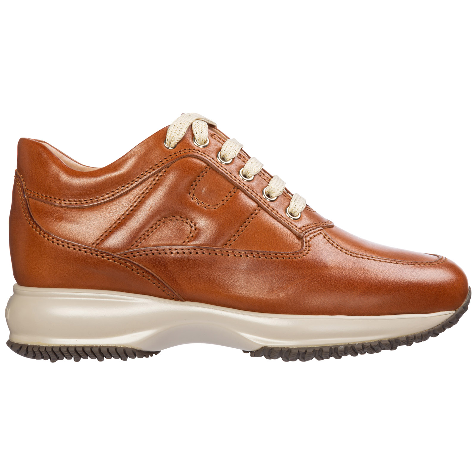 Hogan Women's Shoes Leather Trainers Sneakers Interactive In Brown