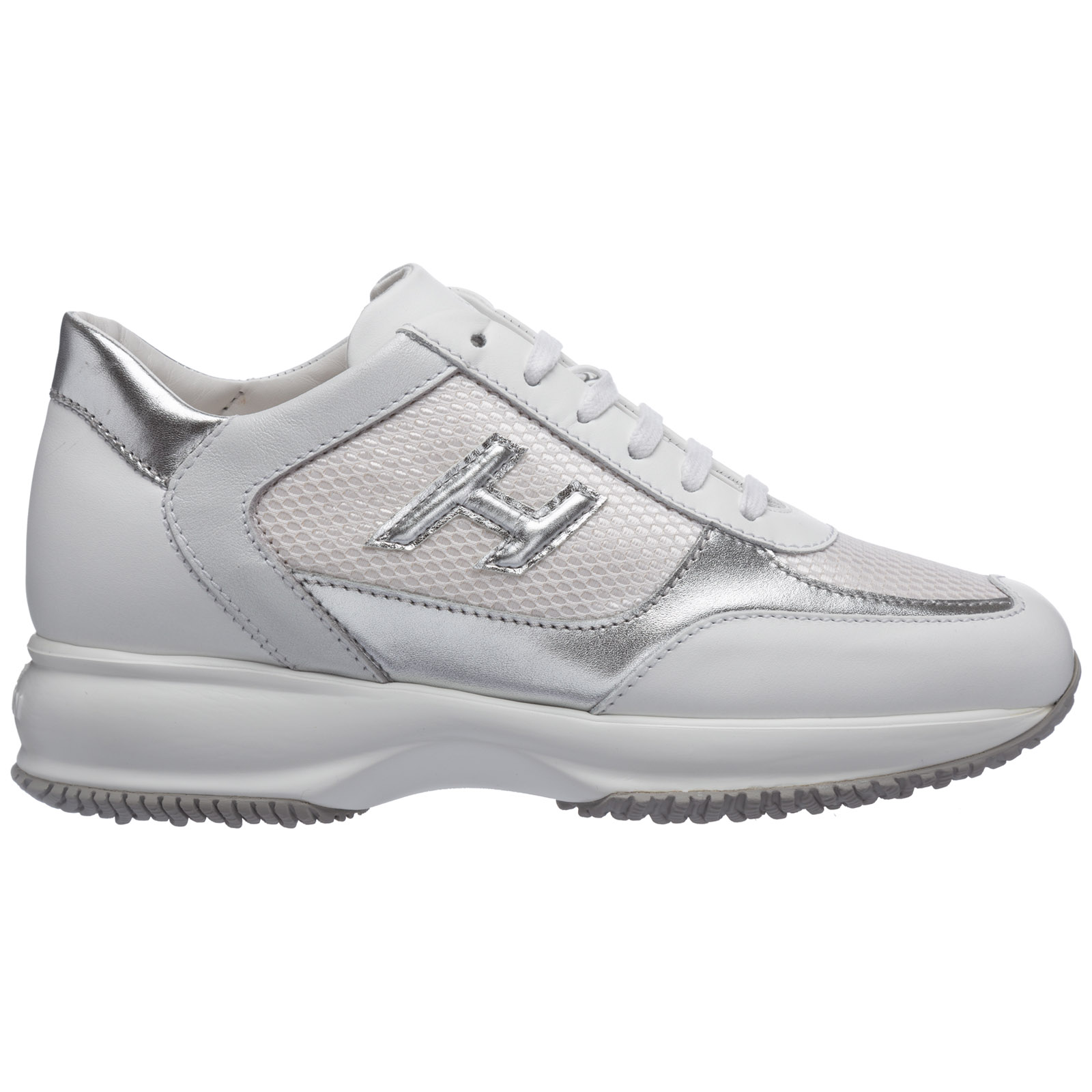 Women's Shoes Leather Trainers Sneakers Interactive In White