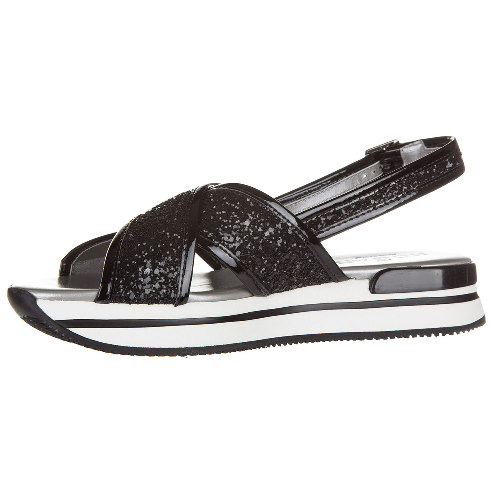65887be5fc ... Women's leather sandals h257 glitter fasce incrociate ...
