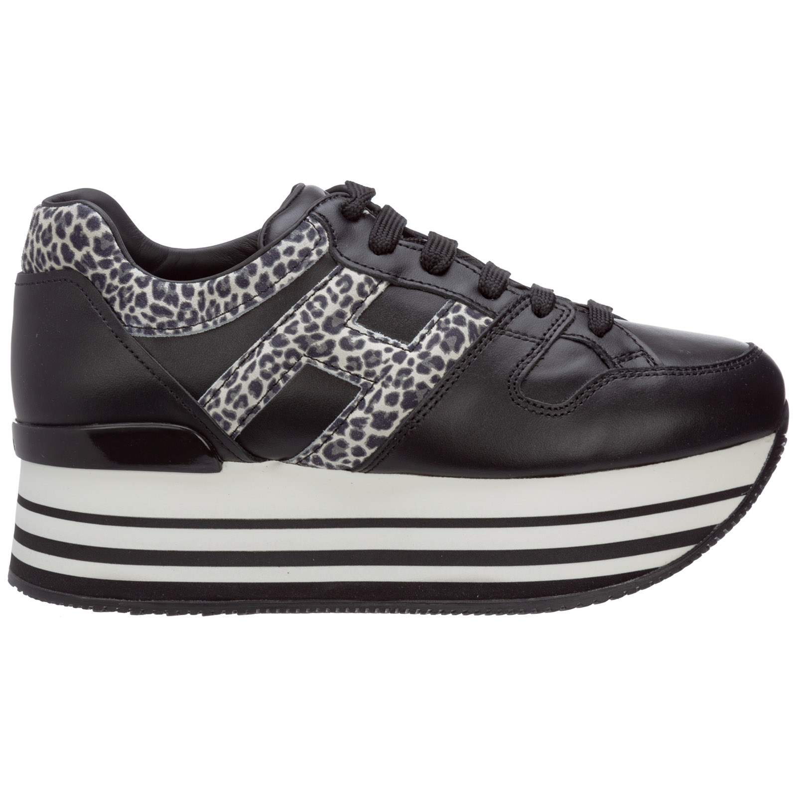 Hogan Women's Shoes Leather Trainers Sneakers Maxi H222 In Black ...