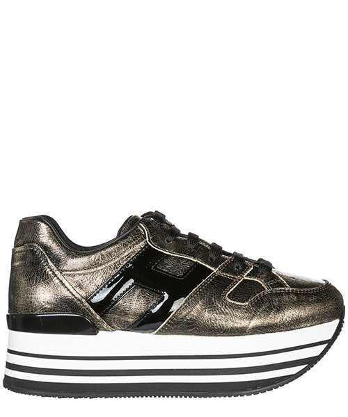 Sneakers con zeppa Hogan Maxi H222 HXW2830T548JD81805 nero oro palladio