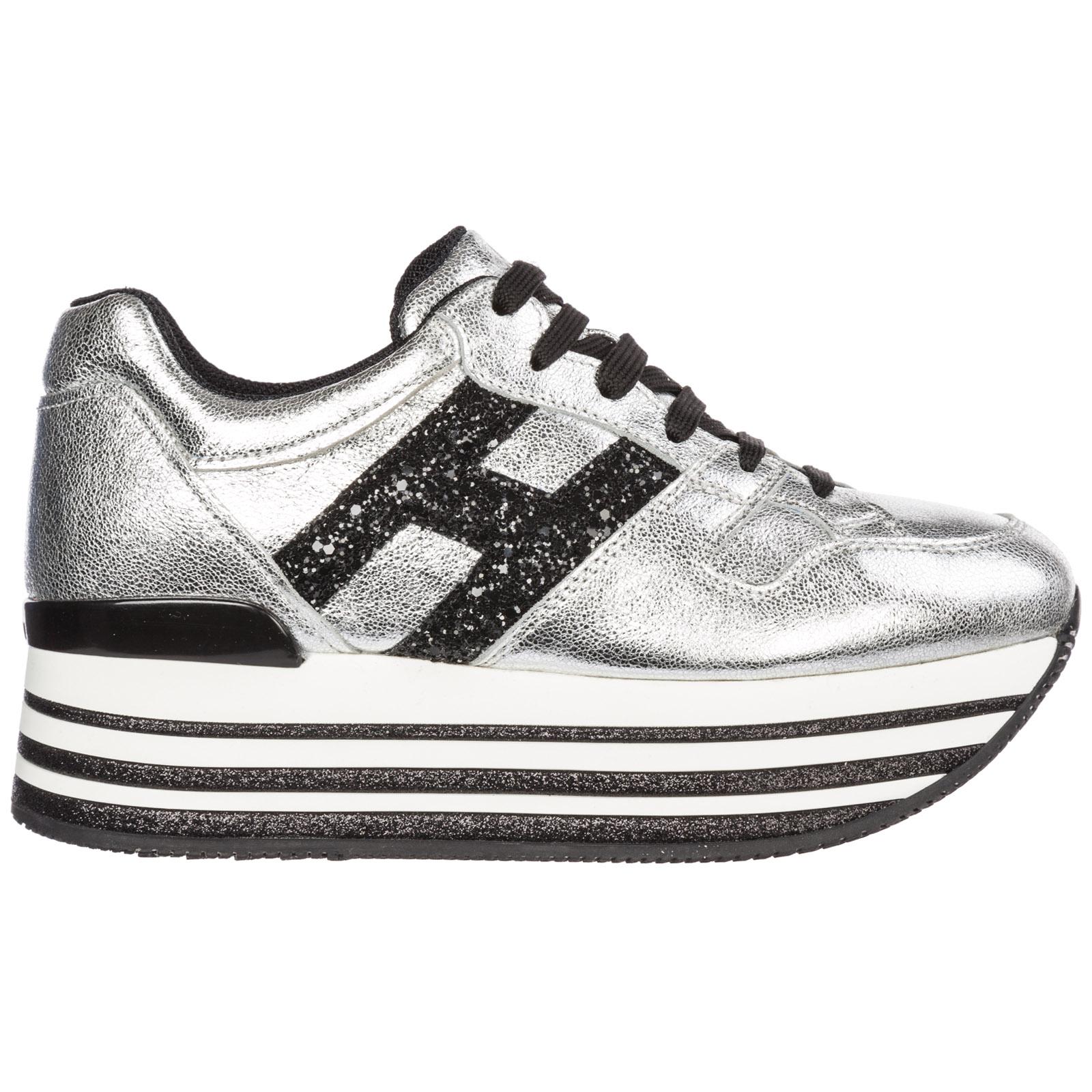4c8b7ccc2a878 Sneakers con zeppa Hogan Maxi H222 HXW3680T548JHD1920 argento nero ...
