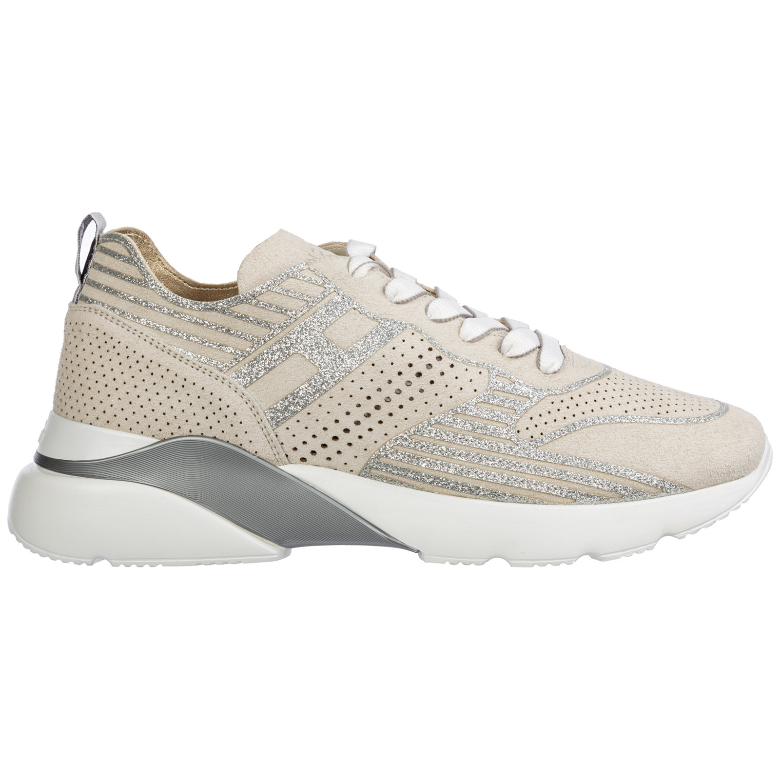 Hogan Women's Shoes Suede Trainers Sneakers Active One In Beige ...