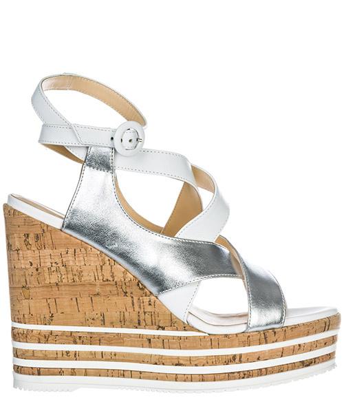 Sandalias de cuña Hogan h361 hxw3610ad80iyo0906 argento bianco