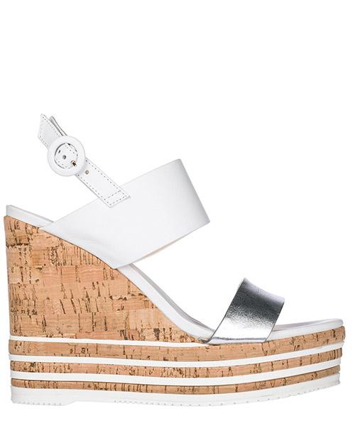 Sandali con zeppa Hogan HXW3610X822I810906 argento bianco